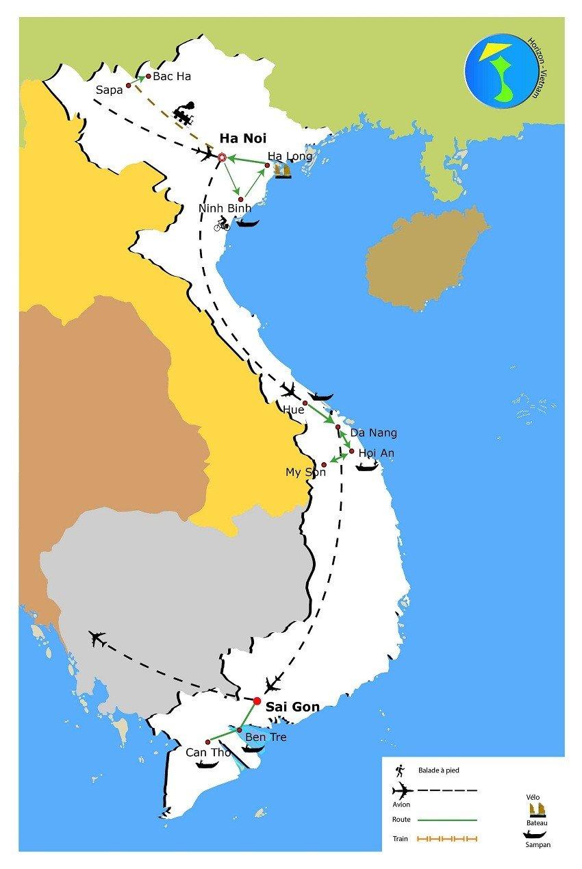 carte-circuit-vietnam-15-jours-nord-au-sud