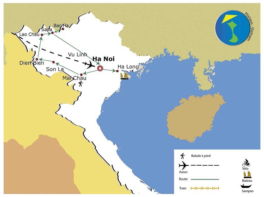 carte-circuit-nord-ouest-vietnam-9-jours