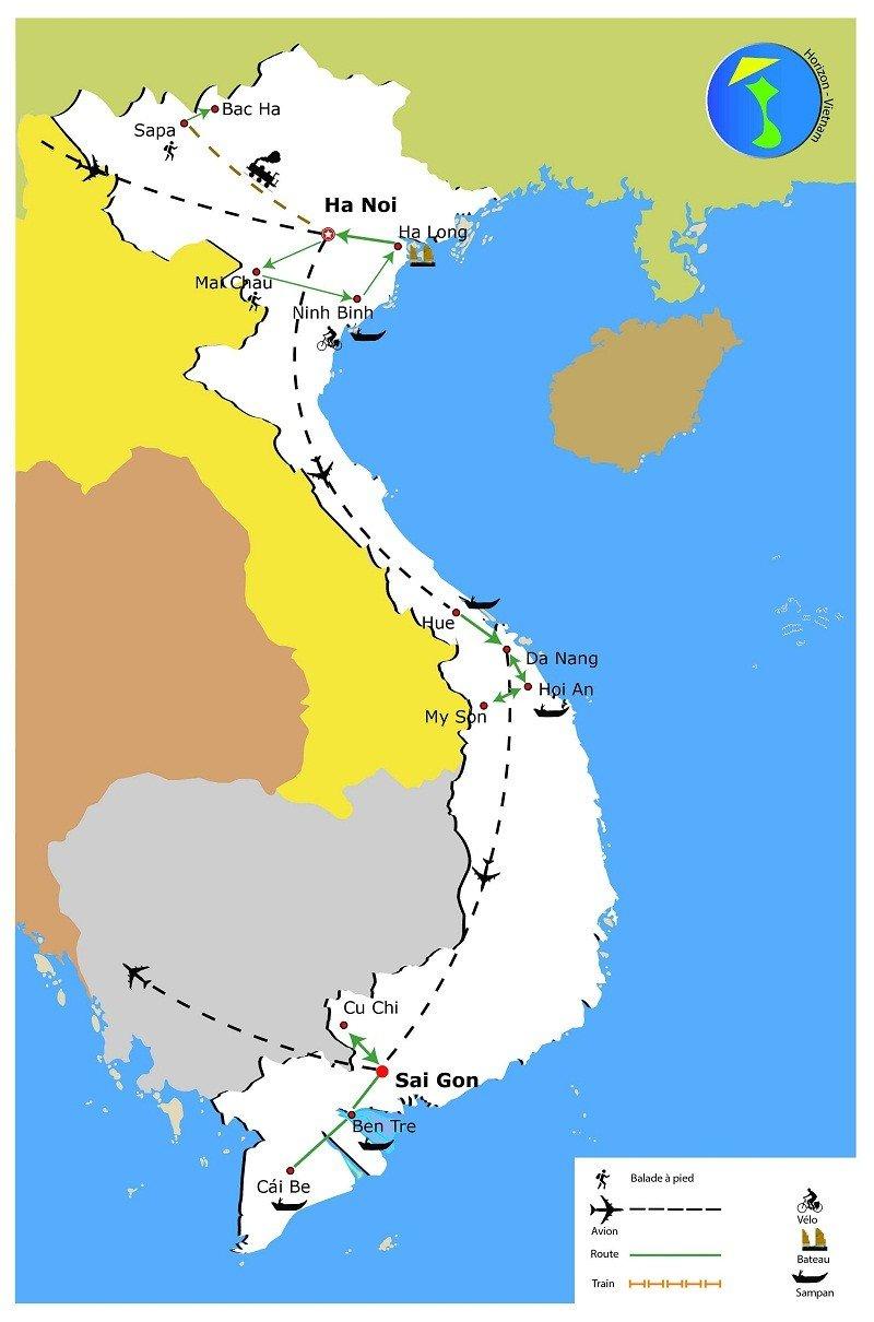 carte-voyage-vietnam-en-3-semaines