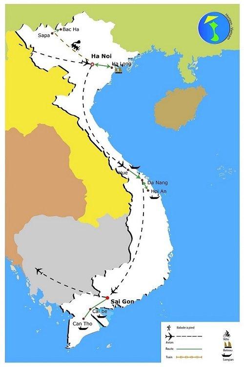 circuit passion vietnam en 13 jours - carte