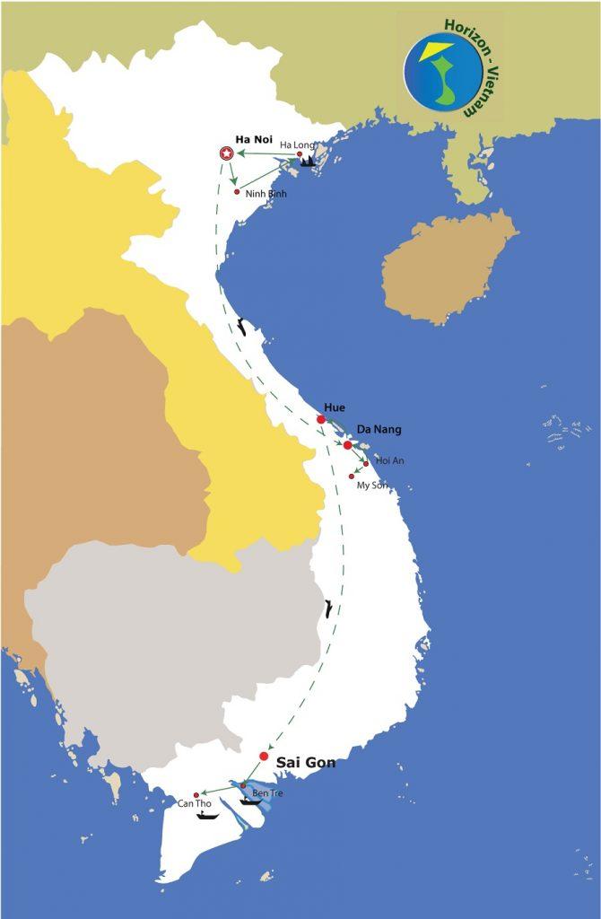 circuit le vietnam dans son ensemble carte