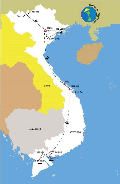 carte du circuit visage du vietnam