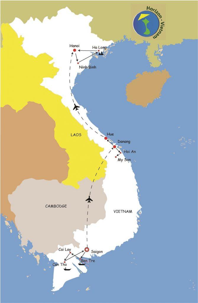 carte du circuit vietnam son charme cachee
